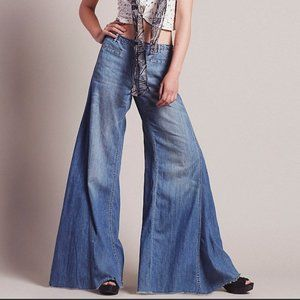 FP Vintage Chambray Extreme Bell Bottom Jeans